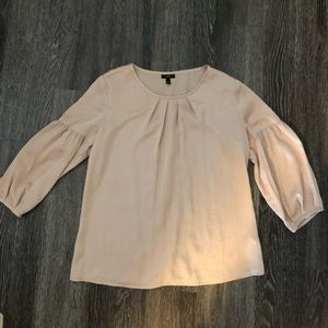 3/4 sleeve tan blouse